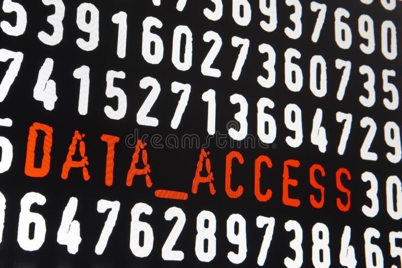 Datorskärm med text för datatillträde på svart bakgrund royaltyfri bild