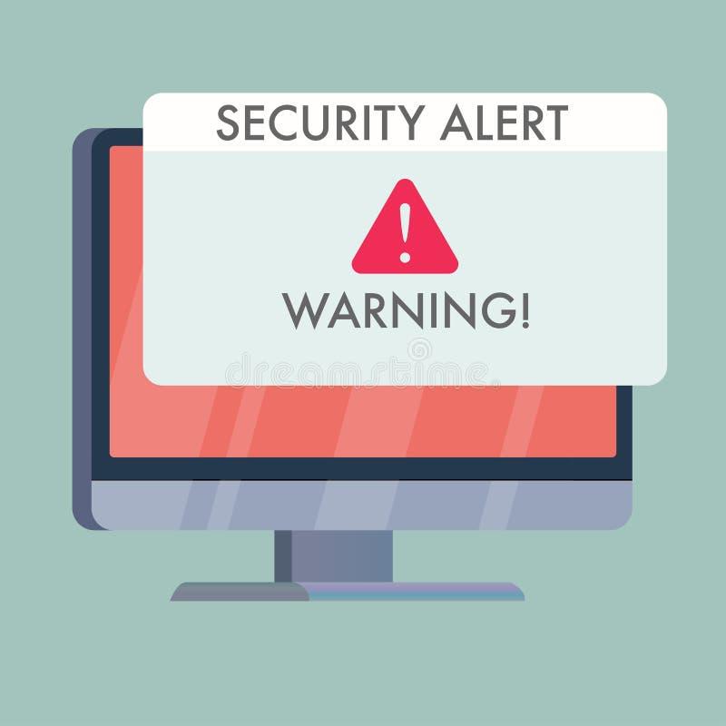 datorskärm med varning för säkerhetsvarning på royaltyfri illustrationer