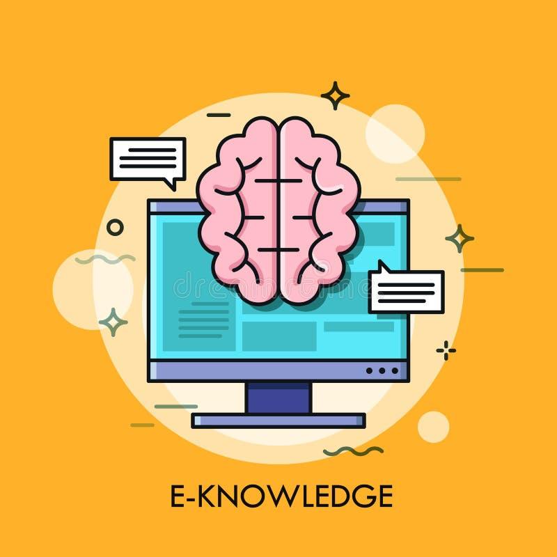 Datorskärm och hjärna vektor illustrationer