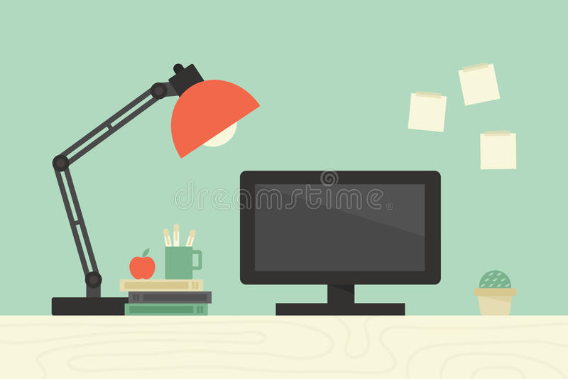 Datorskrivbord vektor illustrationer