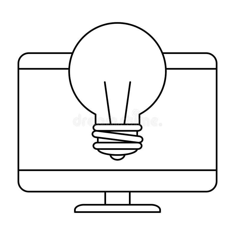 Datorskrivbord med kulan royaltyfri illustrationer