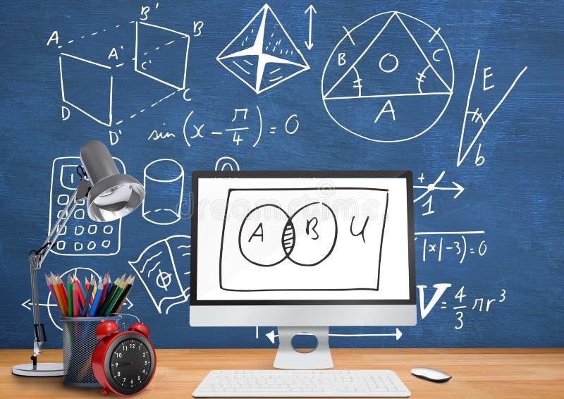 Datorskrivbordförgrund med svart tavladiagram av matematik diagrams stock illustrationer