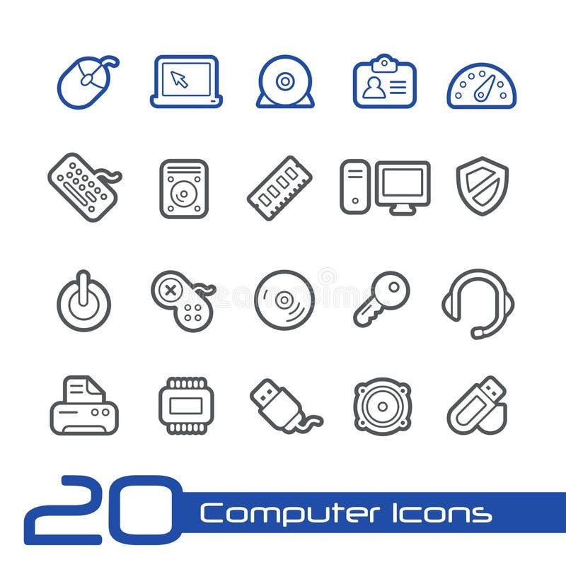 Datorsymbols//linje serie royaltyfri illustrationer