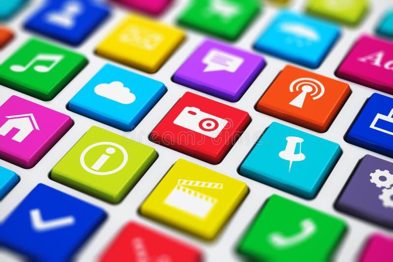 Datortangentbord med sociala massmediatangenter för färg vektor illustrationer