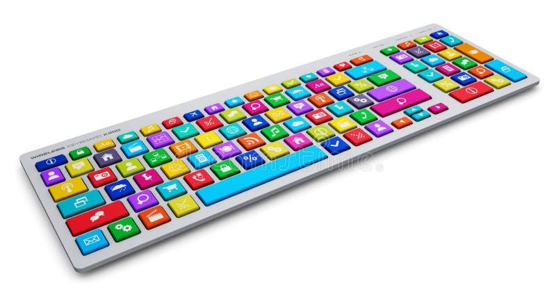 Datortangentbord med sociala massmediatangenter för färg stock illustrationer