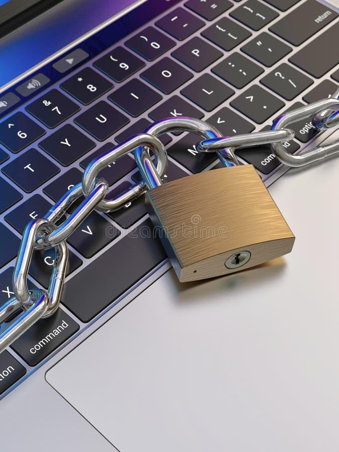 Datortangentbordet låste med hänglåset och kedjan - säkerhet royaltyfri illustrationer