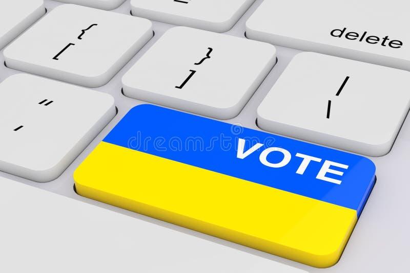 Datortangentbordet med röstar knappen som den Ukraina flaggan framförande 3d royaltyfri bild