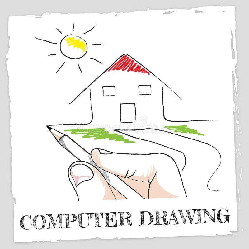 Datorteckningshjälpmedlet skissar processorn och idérikt stock illustrationer