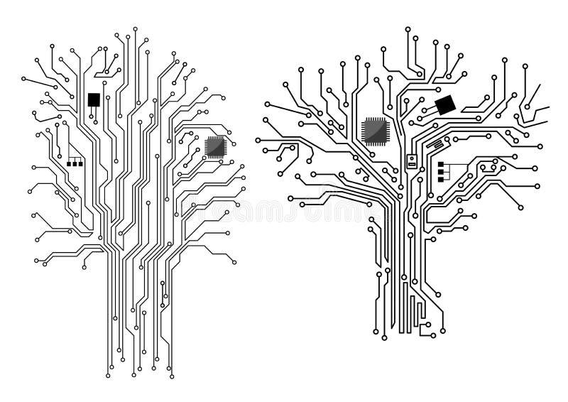 Datorträd med chipen och moderkortet vektor illustrationer