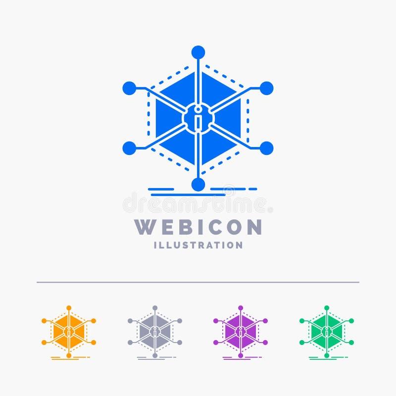 Datos, ayuda, información, información, plantilla del icono de la web del Glyph del color de los recursos 5 aislada en blanco Ilu ilustración del vector