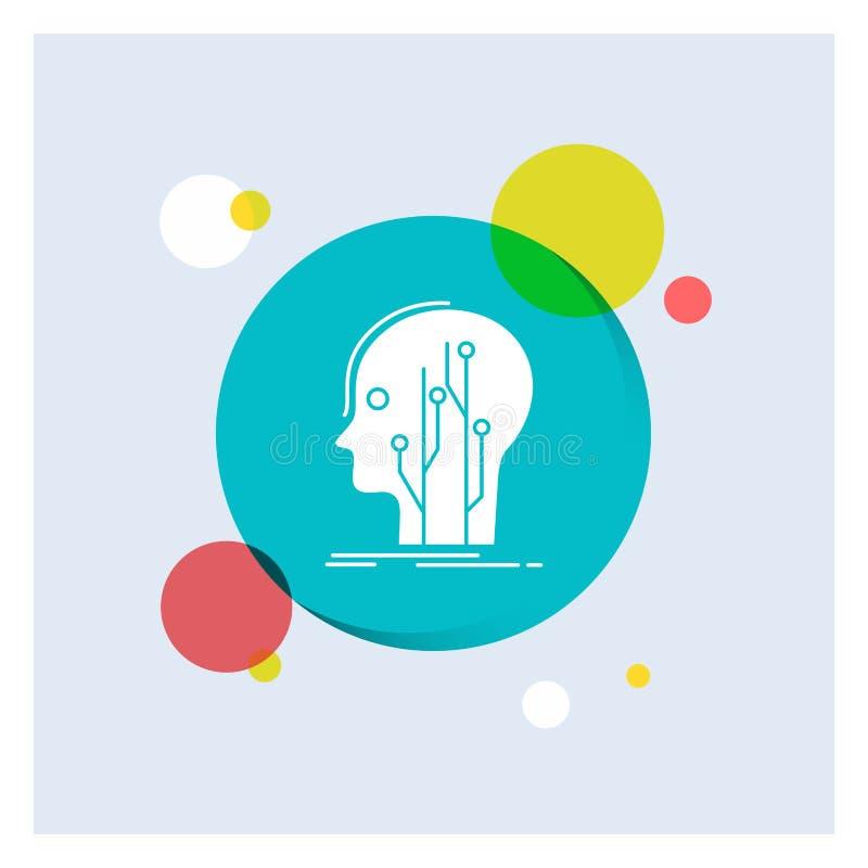Datos, cabeza, ser humano, conocimiento, fondo colorido del círculo del icono blanco del Glyph de la red stock de ilustración