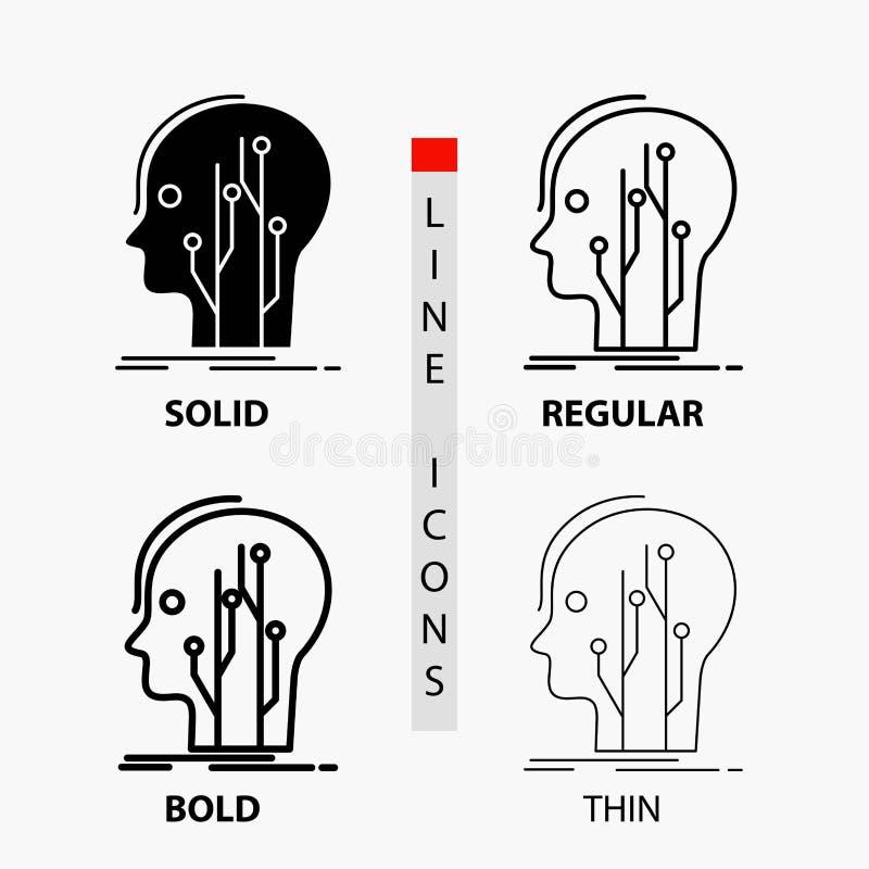 Datos, cabeza, ser humano, conocimiento, icono de la red en línea y estilo finos, regulares, intrépidos del Glyph Ilustraci?n del ilustración del vector