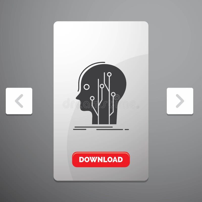 Datos, cabeza, ser humano, conocimiento, icono del Glyph de la red en diseño del resbalador de las paginaciones de la orgía y bot stock de ilustración