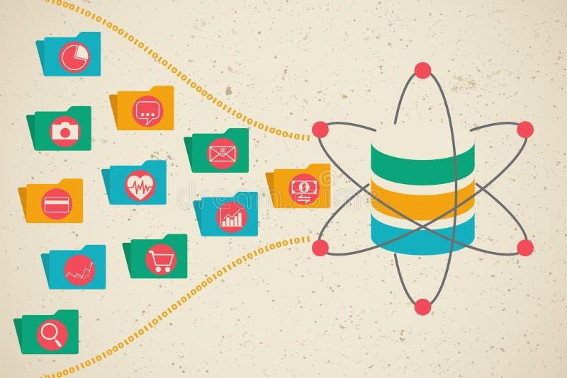 Datos, ciencia de los datos y concepto grandes de la comunicación ilustración del vector