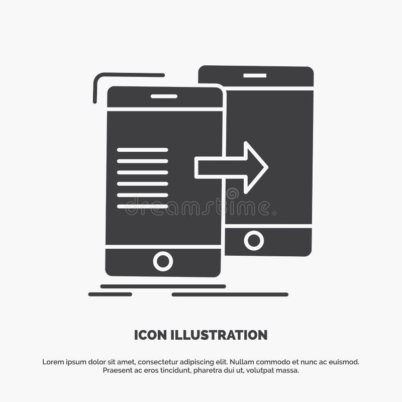 datos, compartiendo, sincronizaci?n, sincronizaci?n, icono syncing s?mbolo gris del vector del glyph para UI y UX, p?gina web o a libre illustration