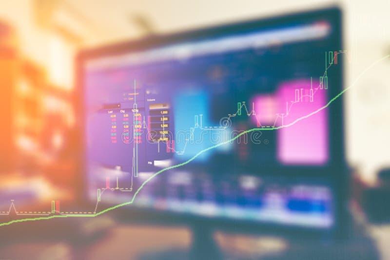 Datos comunes sobre la exposición doble del monitor comercial con el gráfico común imágenes de archivo libres de regalías