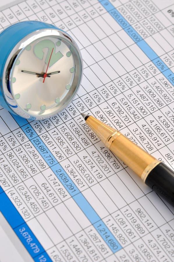 Datos de asunto y hojas de operación (planning) del tiempo imagenes de archivo