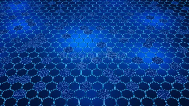 Datos de Digitaces Forma y placa de circuito del hexágono en la estructura del co ilustración del vector