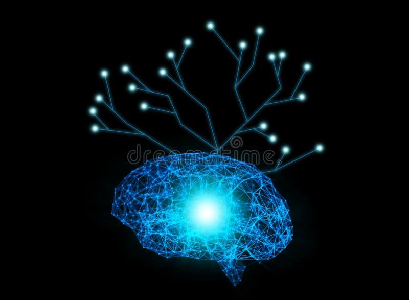Datos de Digitaces y conexión de red del cerebro humano con el str del árbol libre illustration