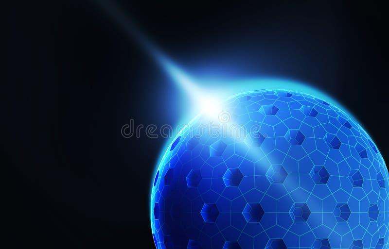 Datos de Digitaces y esfera y agujeros de la red con isola ligero de la llamarada stock de ilustración