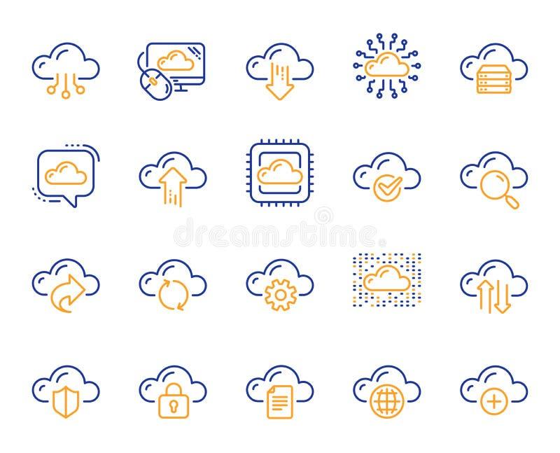 Datos de la nube y línea iconos de la tecnología Fije de datos de recibimiento, computacionales y de almacenamiento de fichero Ve ilustración del vector