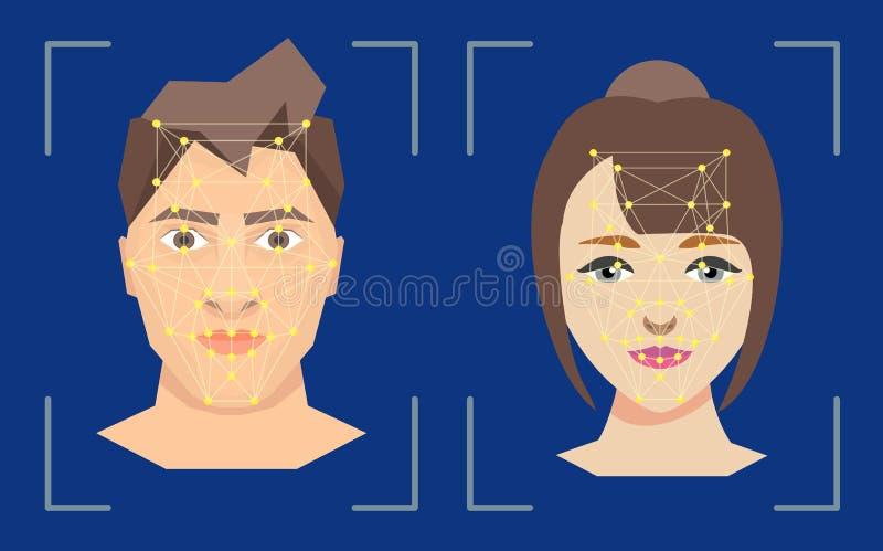 Datos de la seguridad de la protección de la tecnología del concepto de la verificación del reconocimiento de la gente de la cara stock de ilustración