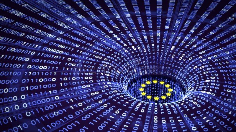 Datos de la UE GDPR que bajan en un wormhole ilustración del vector