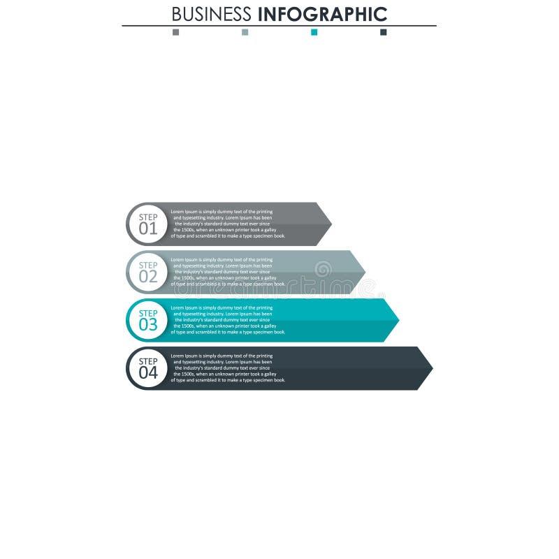 Datos de negocio, carta Elementos abstractos del gráfico, del diagrama con 4 pasos, de la estrategia, de las opciones, de las pie ilustración del vector