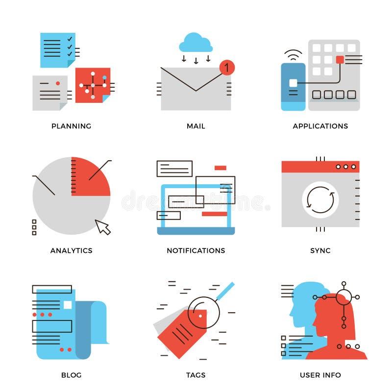Datos de negocio y línea de comunicación iconos fijados stock de ilustración