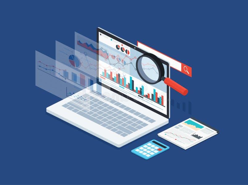 Datos del análisis y estadística del desarrollo Concepto moderno de estrategia empresarial, información de la búsqueda, márketing ilustración del vector