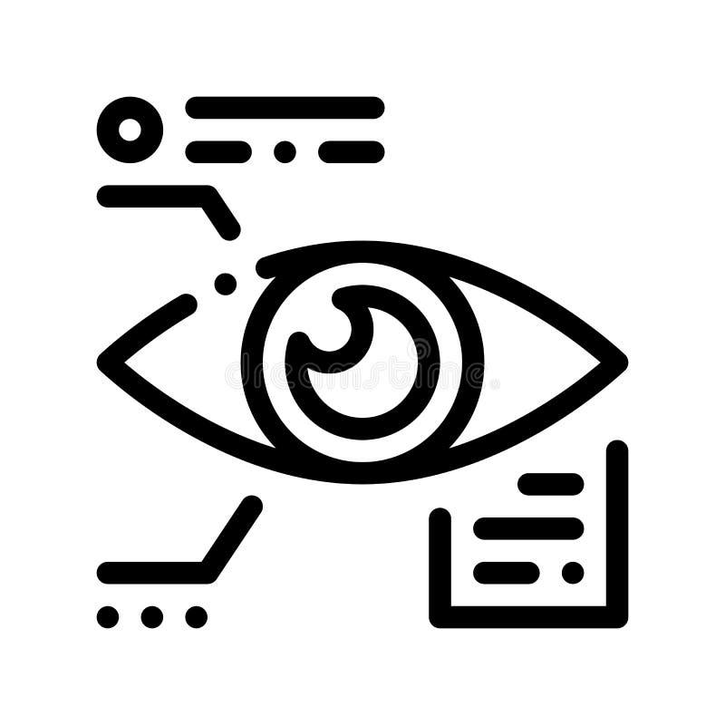 Datos del ojo e icono biométricos del vector de información stock de ilustración