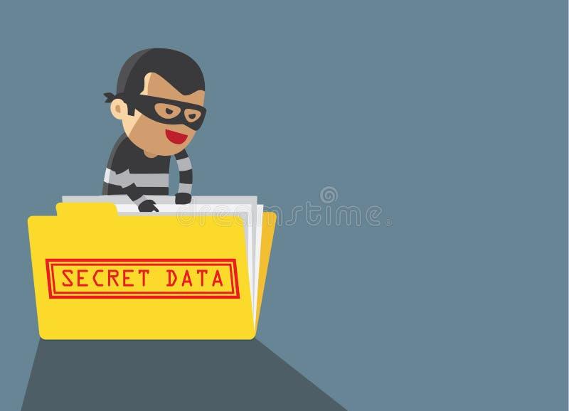 Datos del secreto del robo del pirata informático stock de ilustración