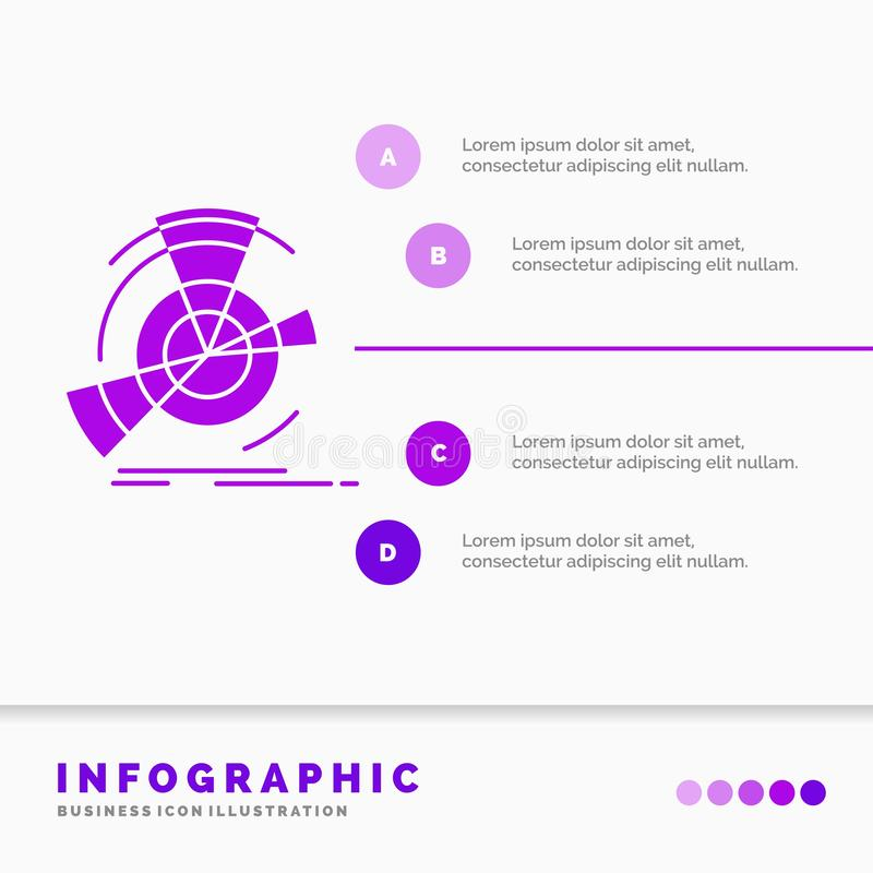 Datos, diagrama, funcionamiento, punto, plantilla de Infographics de la referencia para la página web y presentación Icono p?rpur ilustración del vector