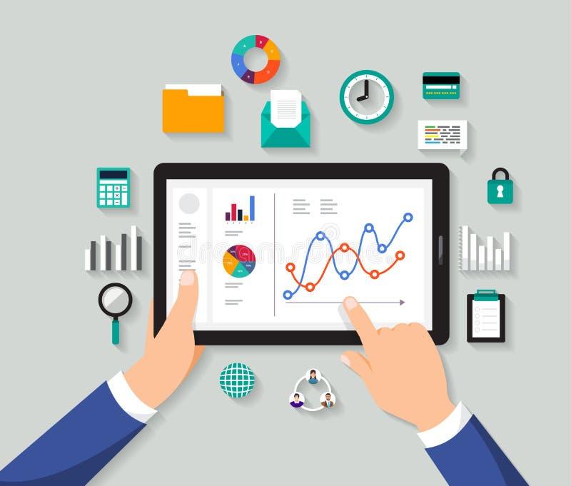Datos digitales de diseño del concepto del análisis plano del hombre de negocios Vector IL stock de ilustración