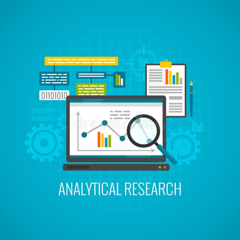 Datos e icono analítico de la investigación stock de ilustración