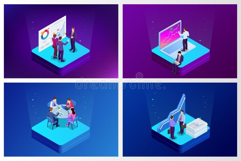 Datos e inversión isométricos del análisis Gestión del proyecto, comunicación empresarial, flujo de trabajo y consulta Sitio web  stock de ilustración