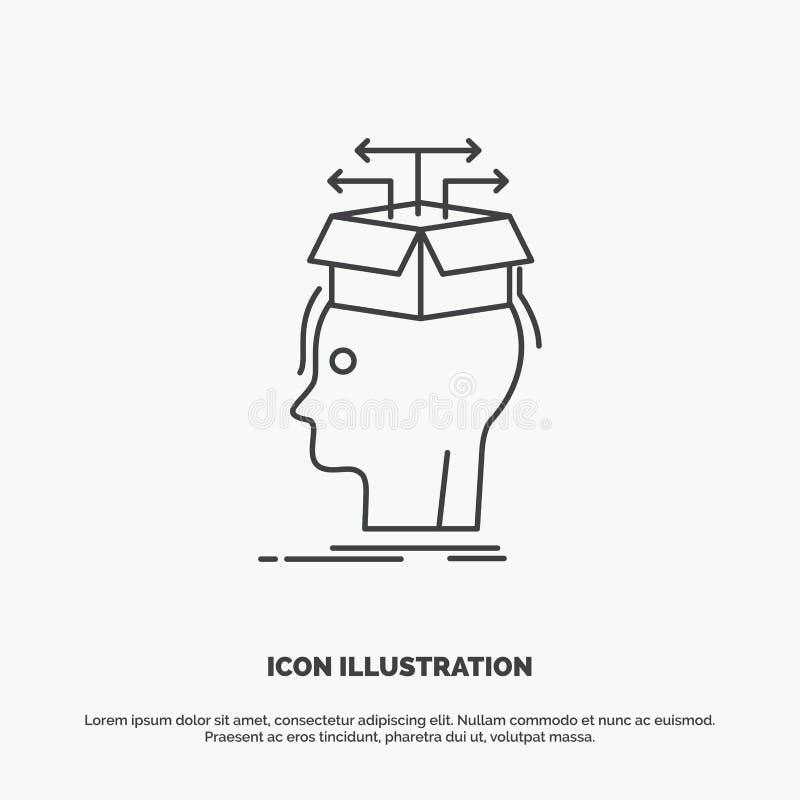 Datos, extracción, cabeza, conocimiento, compartiendo el icono L?nea s?mbolo gris del vector para UI y UX, p?gina web o aplicaci? stock de ilustración