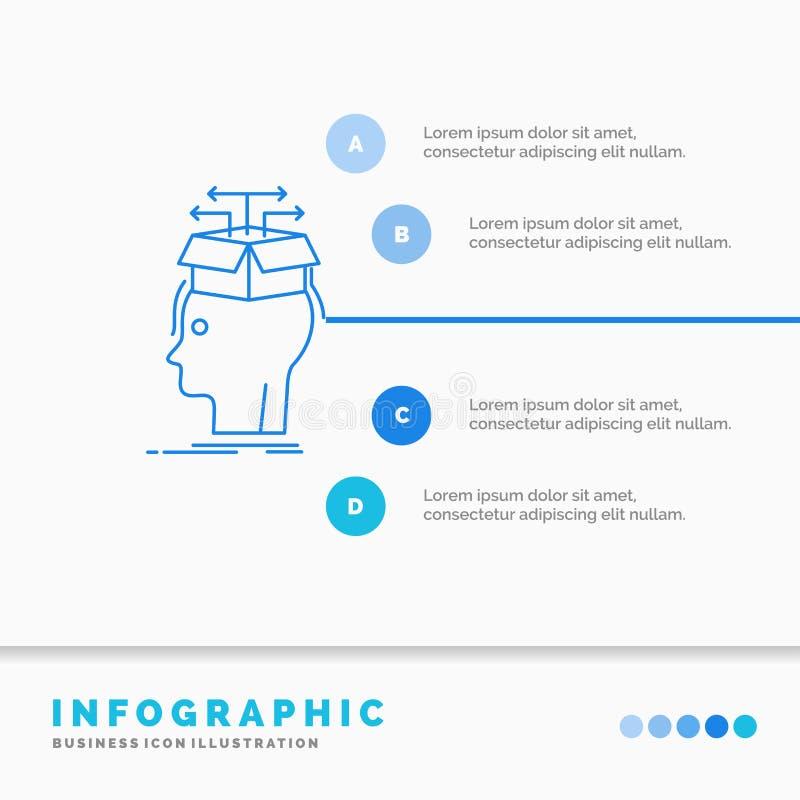 Datos, extracci?n, cabeza, conocimiento, compartiendo la plantilla de Infographics para la p?gina web y la presentaci?n L?nea est ilustración del vector
