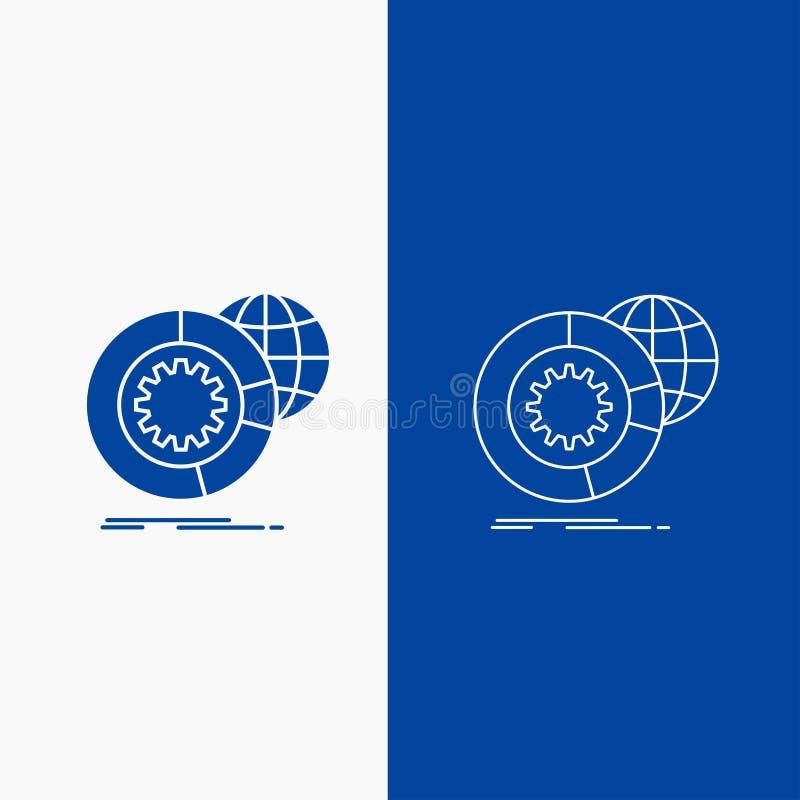datos, datos grandes, análisis, globo, botón de la web de la línea de servicios y del Glyph en la bandera vertical del color azul ilustración del vector