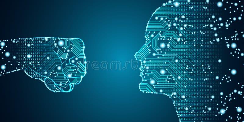 Datos grandes e inteligencia artificial que cortan concepto ilustración del vector