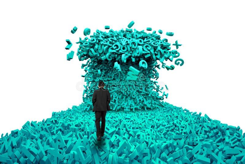 Datos grandes Hombre de negocios que camina hacia una onda enorme del tsunami de los caracteres imágenes de archivo libres de regalías