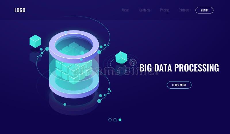 Datos grandes isométricos, ciencia de la tecnología digital, sitio del servidor, datacenter del icono de la base de datos, ejempl ilustración del vector