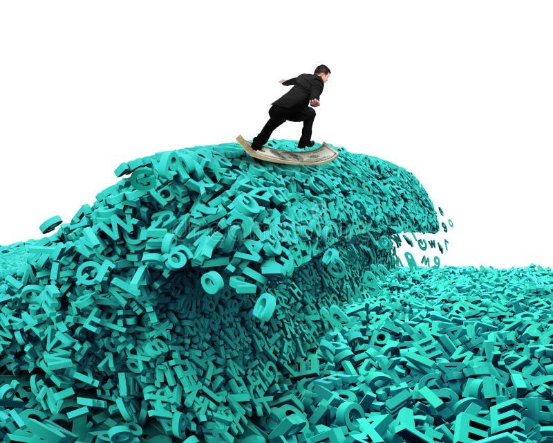 Datos grandes Onda enorme del tsunami de los caracteres Tablero del dinero del hombre de negocios que practica surf