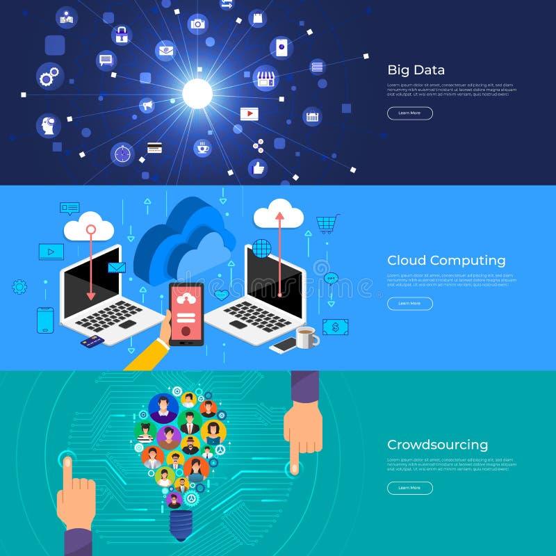 Datos grandes planos del concepto de diseño, nube que computa y crowdsourcing libre illustration