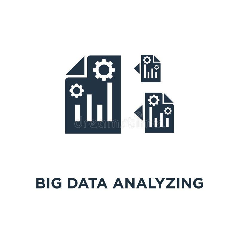 datos grandes que analizan el icono recogida de información y proceso del diseño del símbolo del concepto, gráfico del informe, v ilustración del vector