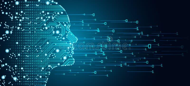 Datos grandes y concepto de la inteligencia artificial ilustración del vector