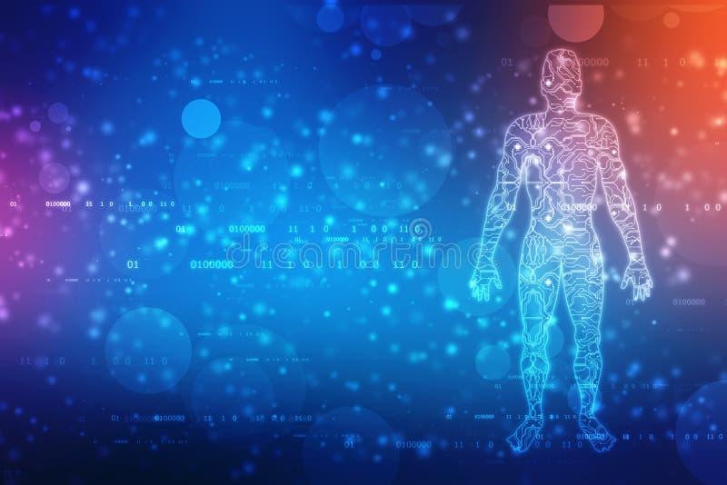 Datos grandes y concepto de la inteligencia artificial, esquema de los hombres con la placa de circuito y flujo de datos binarios libre illustration