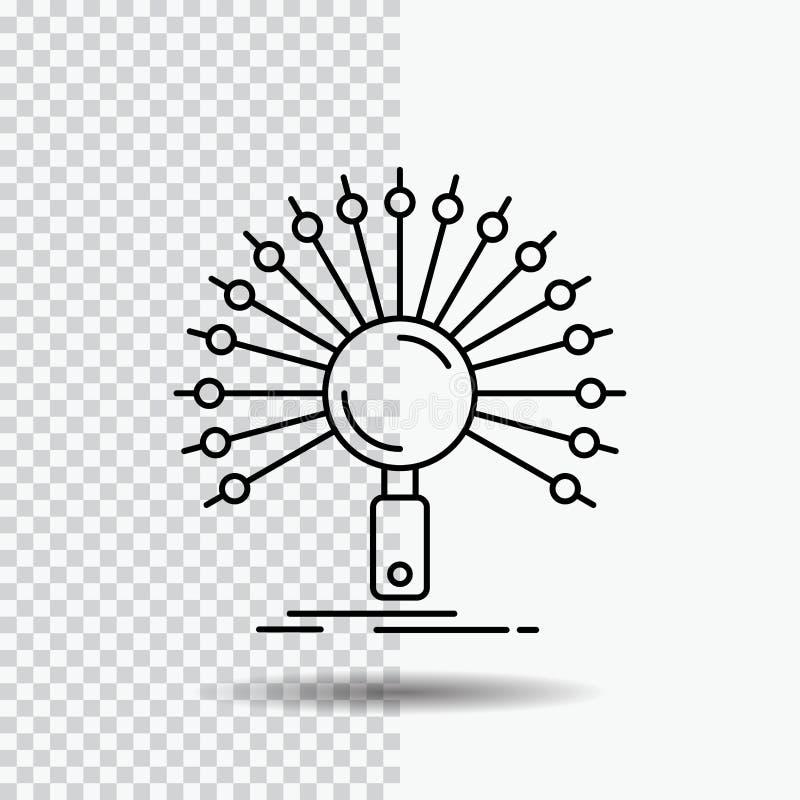 Datos, información, informativa, red, línea icono de la recuperación en fondo transparente Ejemplo negro del vector del icono libre illustration
