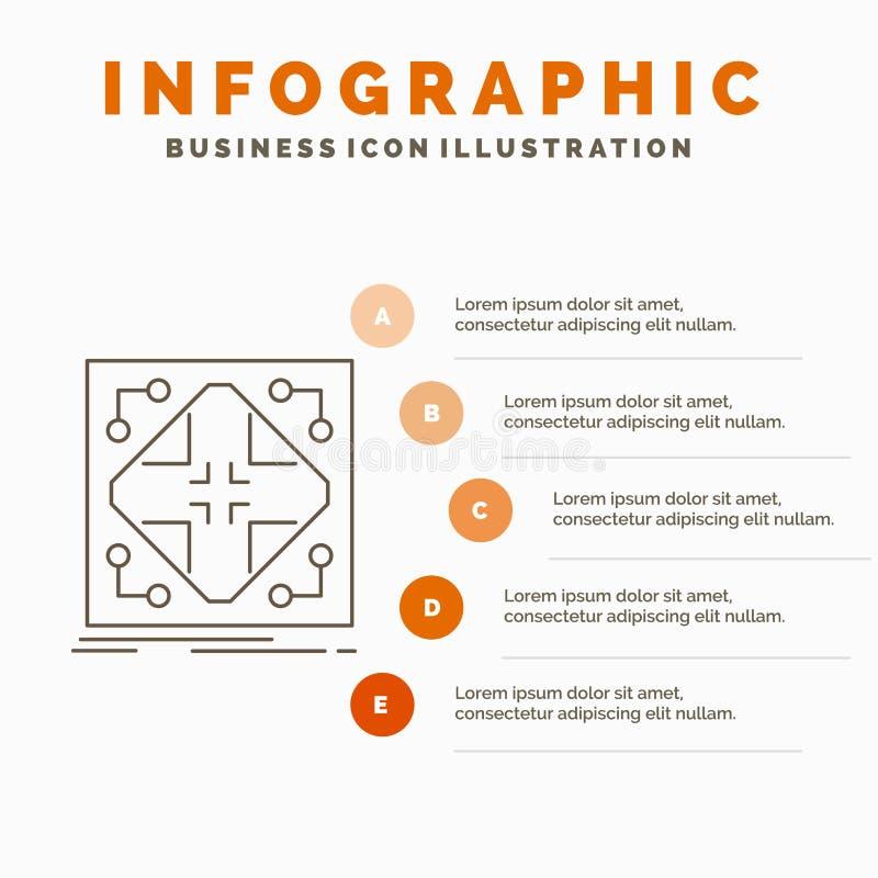 Datos, infraestructura, red, matriz, plantilla de Infographics de la rejilla para la p?gina web y presentaci?n L?nea icono gris c stock de ilustración