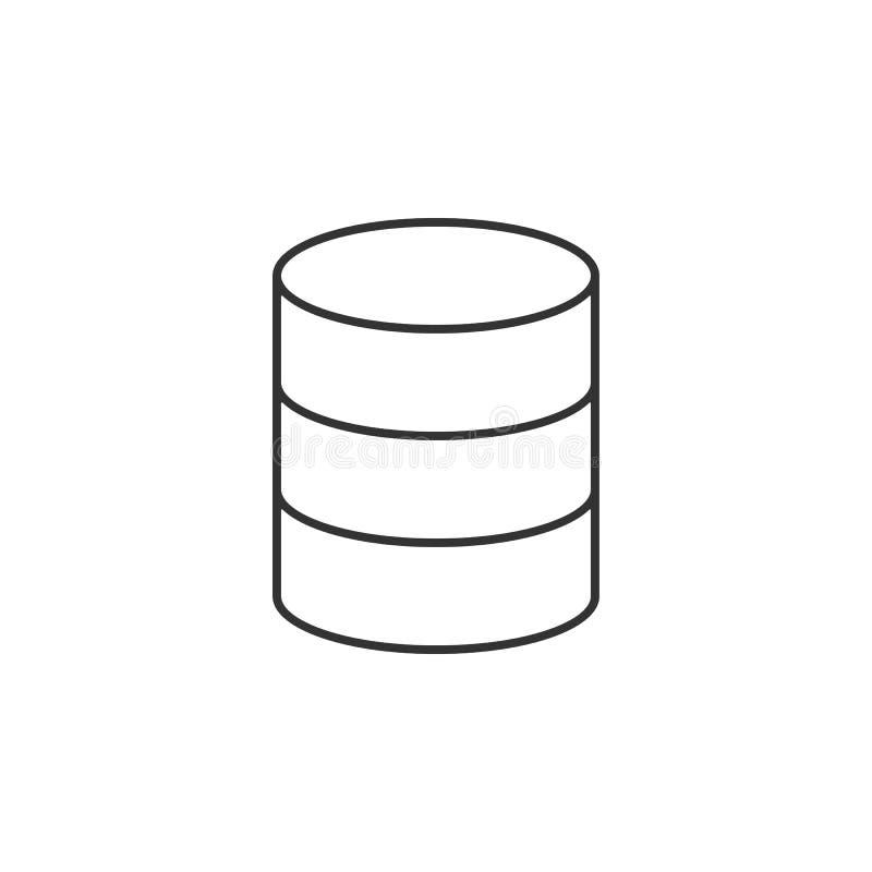 Datos, línea icono del almacenamiento Ejemplo plano simple, moderno del vector para el app móvil, sitio web o mesa app ilustración del vector